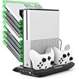 Xbox One S Cooling Vertical Stand, Insten Dual Controller Charging Station Stand and Game Holder with Cooling Fans and 4 USB Ports For Microsoft Xbox One S