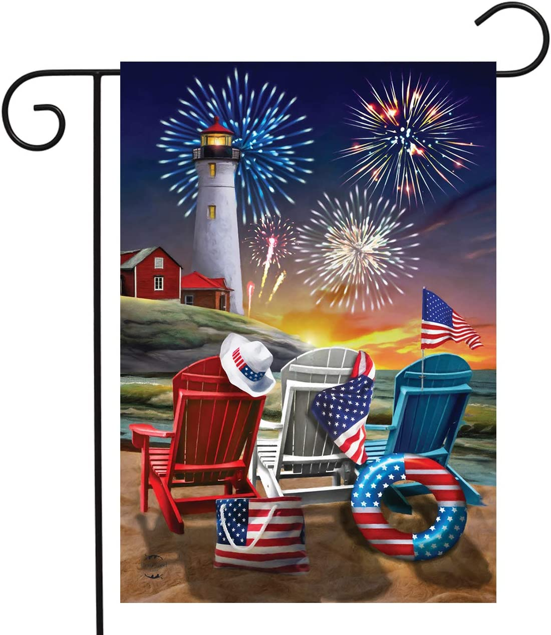 "Briarwood Lane Beachfront Fireworks Fourth of July Garden Flag Patriotic Nautical 12.5"" x 18"""