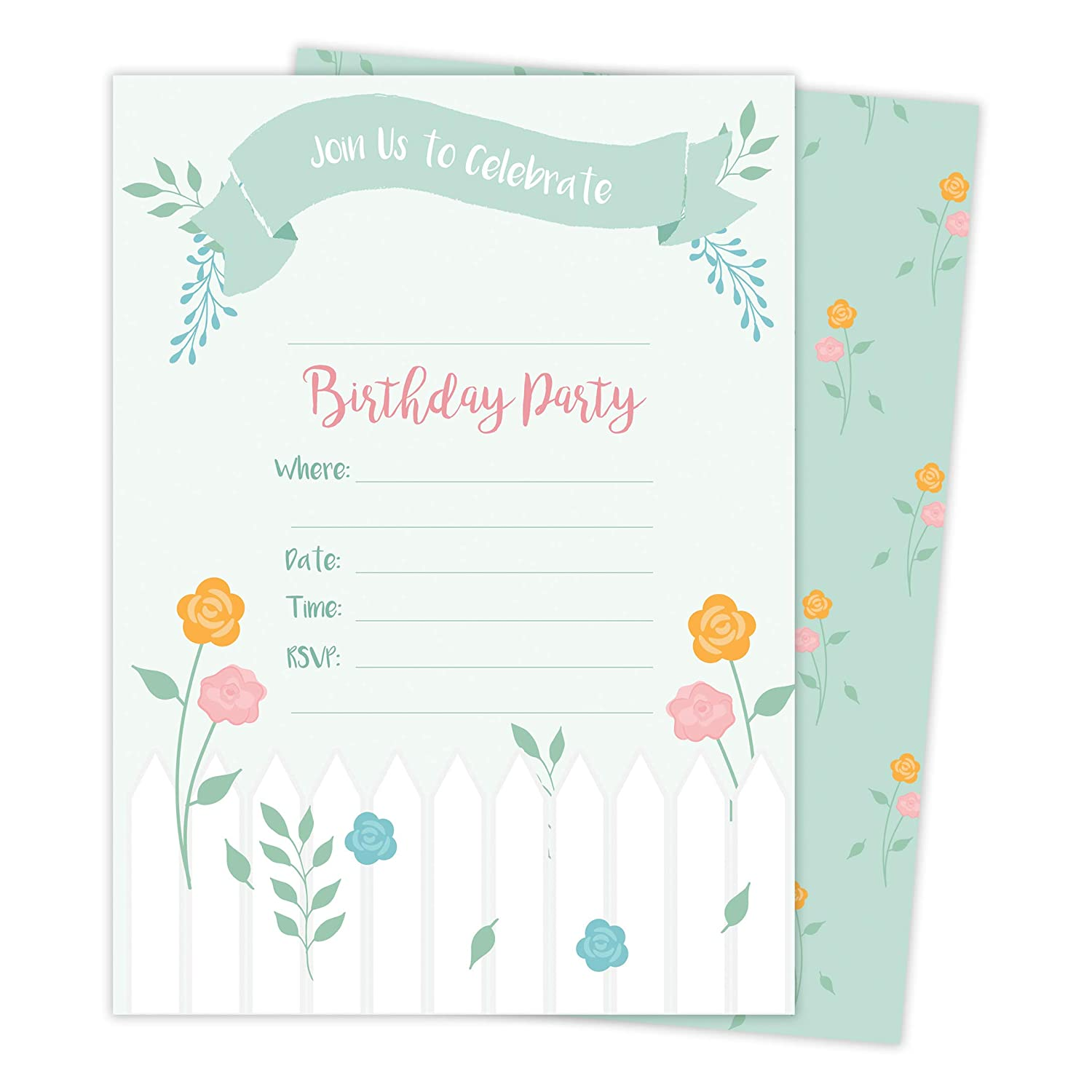 Garden 3 Happy Birthday Invitations Invite Cards 25 Count With Envelopes Seal Stickers Vinyl Girls Boys Kids Party