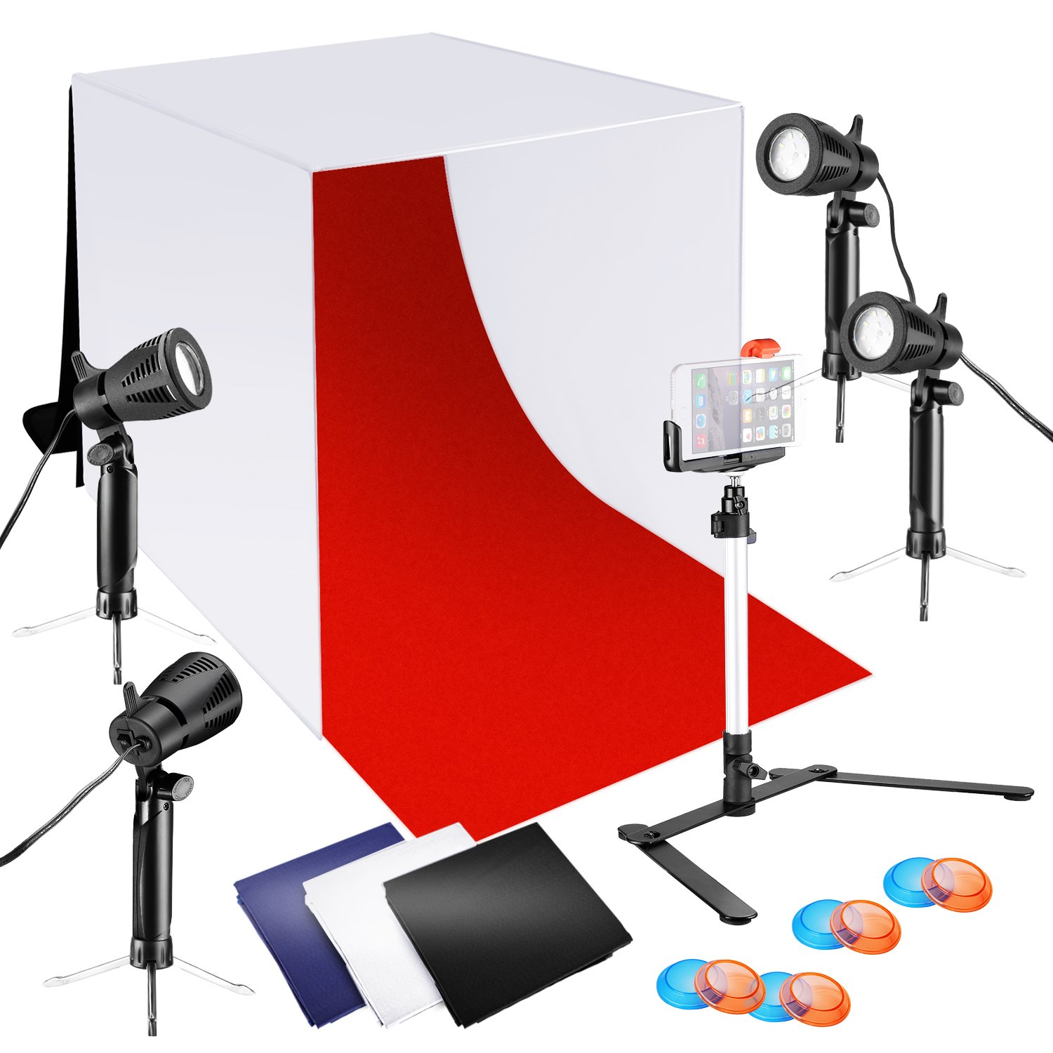 Neewer 24x24 inches Tabletop Photography Lightbox Light Tent Lighting Kit with LED Light, Color Backdrops, Gel Filters, Stand with Cellphone Clip for iPhone X 8 7 6 6S Samsung Galaxy S8 S7 etc by Neewer