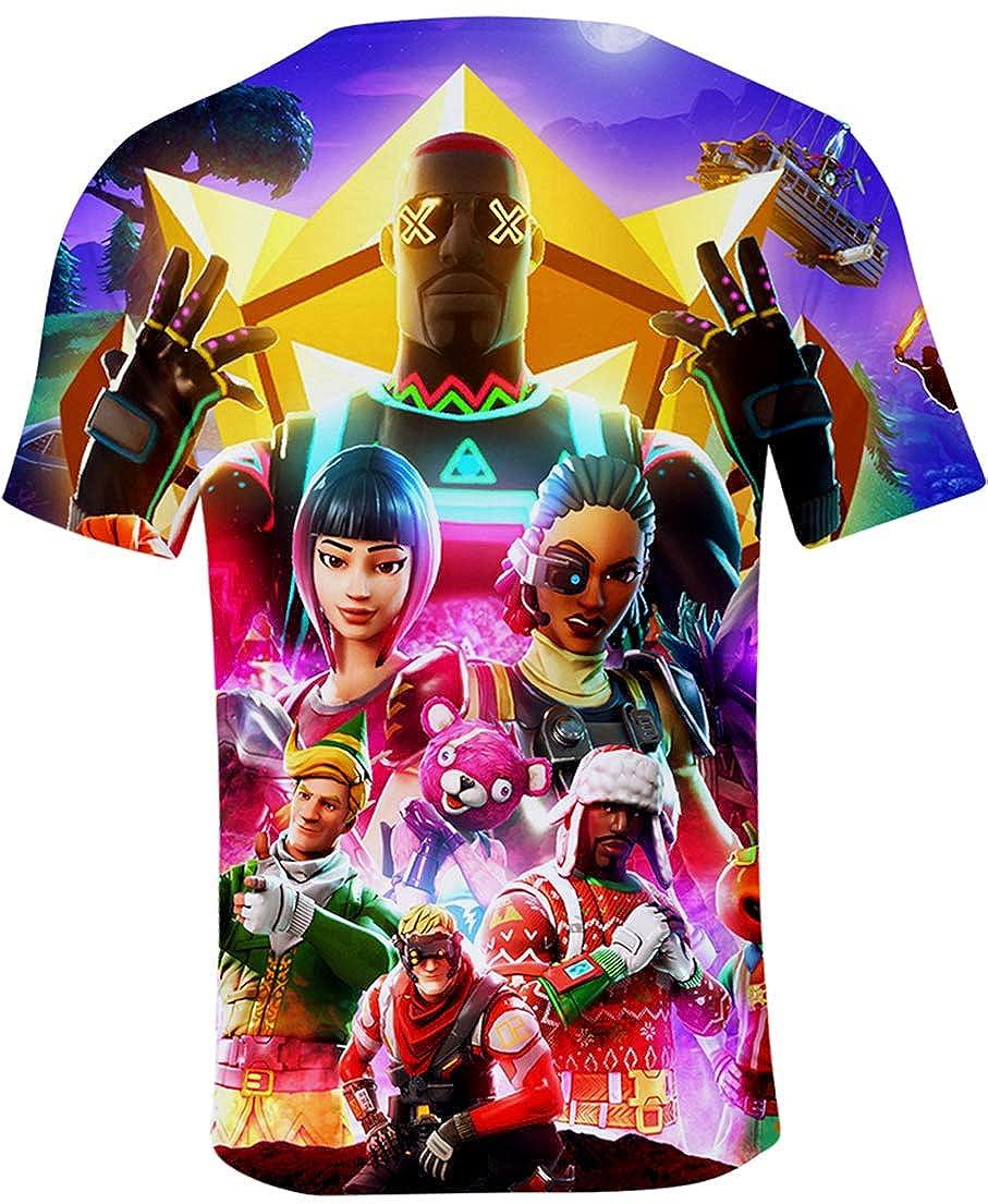 OLIPHEE T-Shirt à Manches Courtes Jeu Vidéo Enfant Unisexe avec Motif de Fortnite