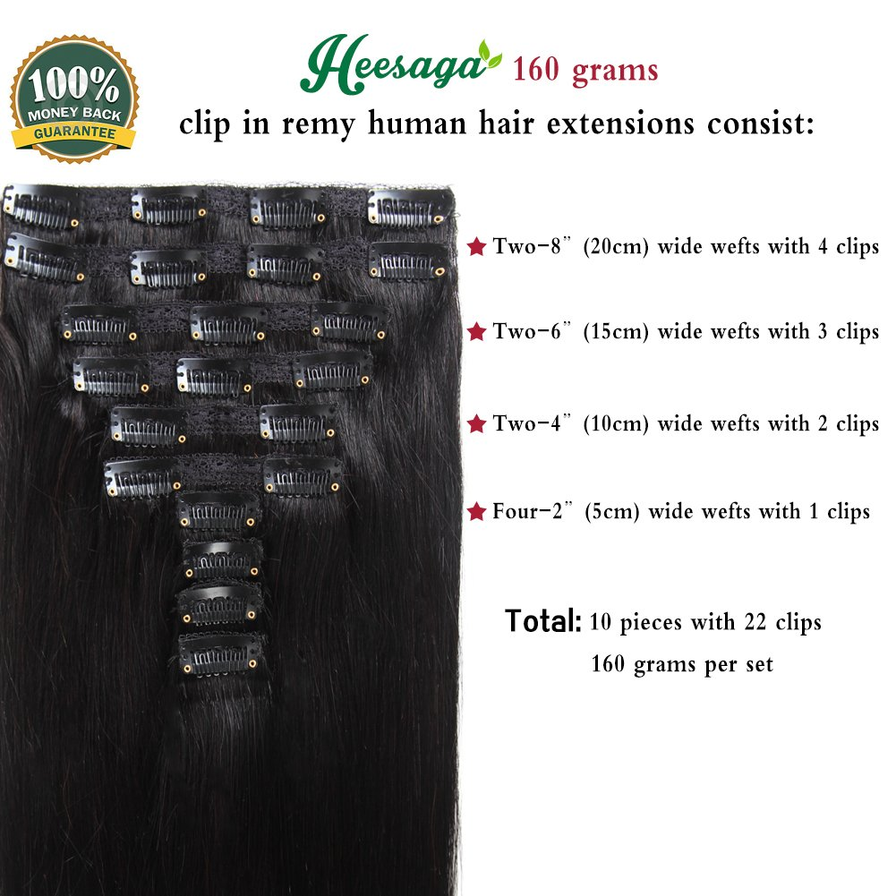 Amazon Heesaga Clip In Hair Extensions Real Human Hair For