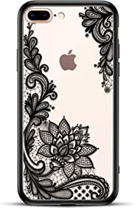 Apple (iPhone 8 Plus iPhone 7) Plus Slim Fit Phone Case for Girls Women with Cute Black Flowers Design - Ultra Thin Matte Hard Plastic Case Cover - Protective Hybrid Rubber Bumper Cool Floral Pattern