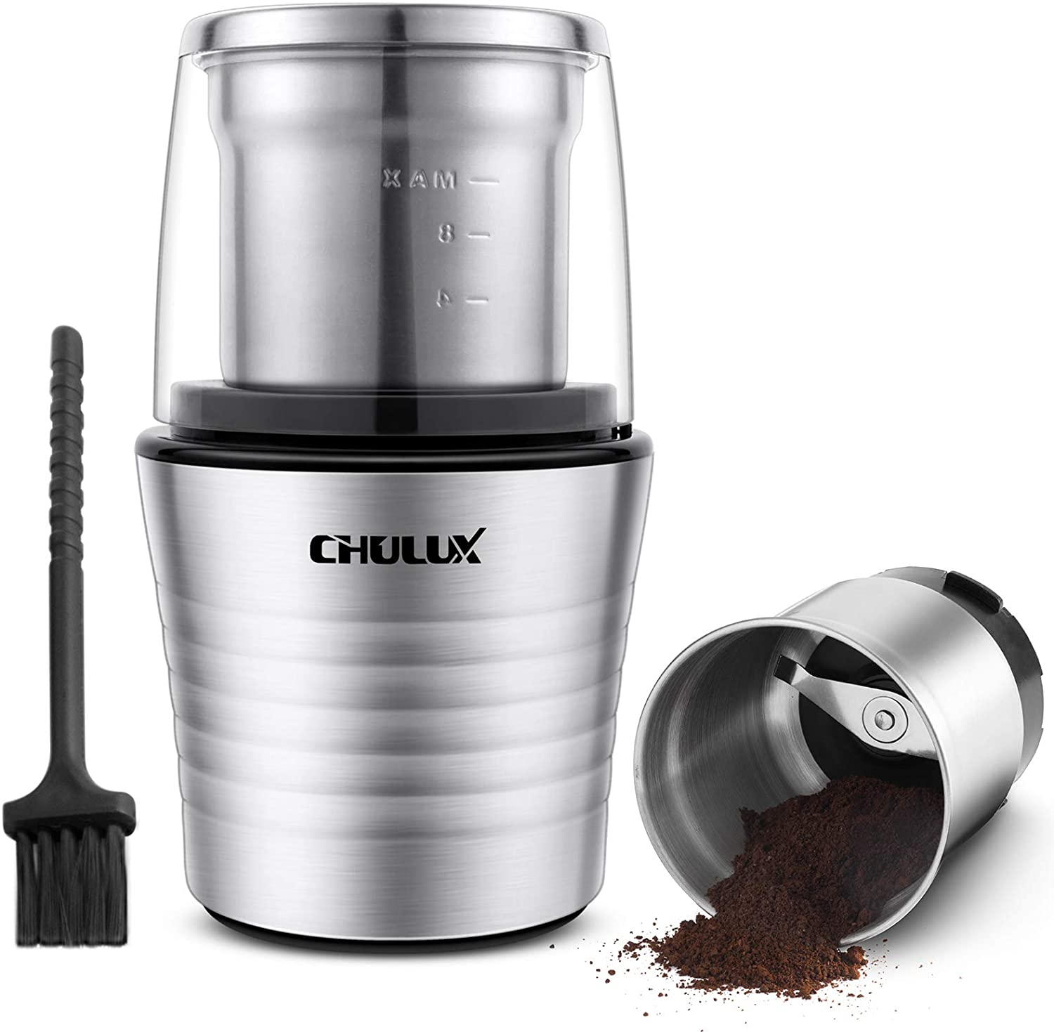 CHULUX Stainless Steel Electric Grinder with Lid Activated Safety Switch for Coffee Bean,Dried Spices and Wet Ingredients,Two 2.5 Ounce Removable Bowls with Built-In SS304 Blade,A Cleaning Brush Included