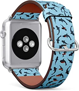 Compatible with Apple Watch Series 5, 4, 3, 2, 1 (Small Version 38/40 mm) Leather Wristband Bracelet Replacement Accessory Band + Adapters - Sharks On Blue