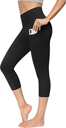 High Waist Yoga Pants with Pockets for Women Capris Workout Leggings Non See Through 4 Way Stretch Tummy Control Sports Pants