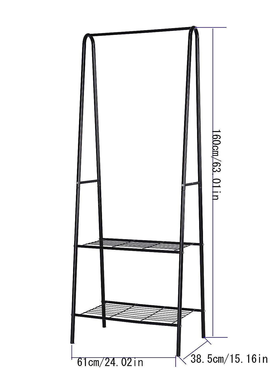 Home-Like Perchero de hierro Colgador para ropa Zapatero con 2 estantes de metal para organizar la ropa estantes de lavandería estante de secado ...