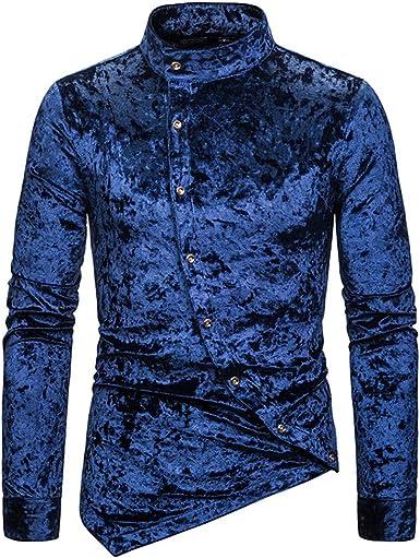 Camisa para hombre con botones diagonales de terciopelo irregular de manga larga: Amazon.es: Ropa y accesorios