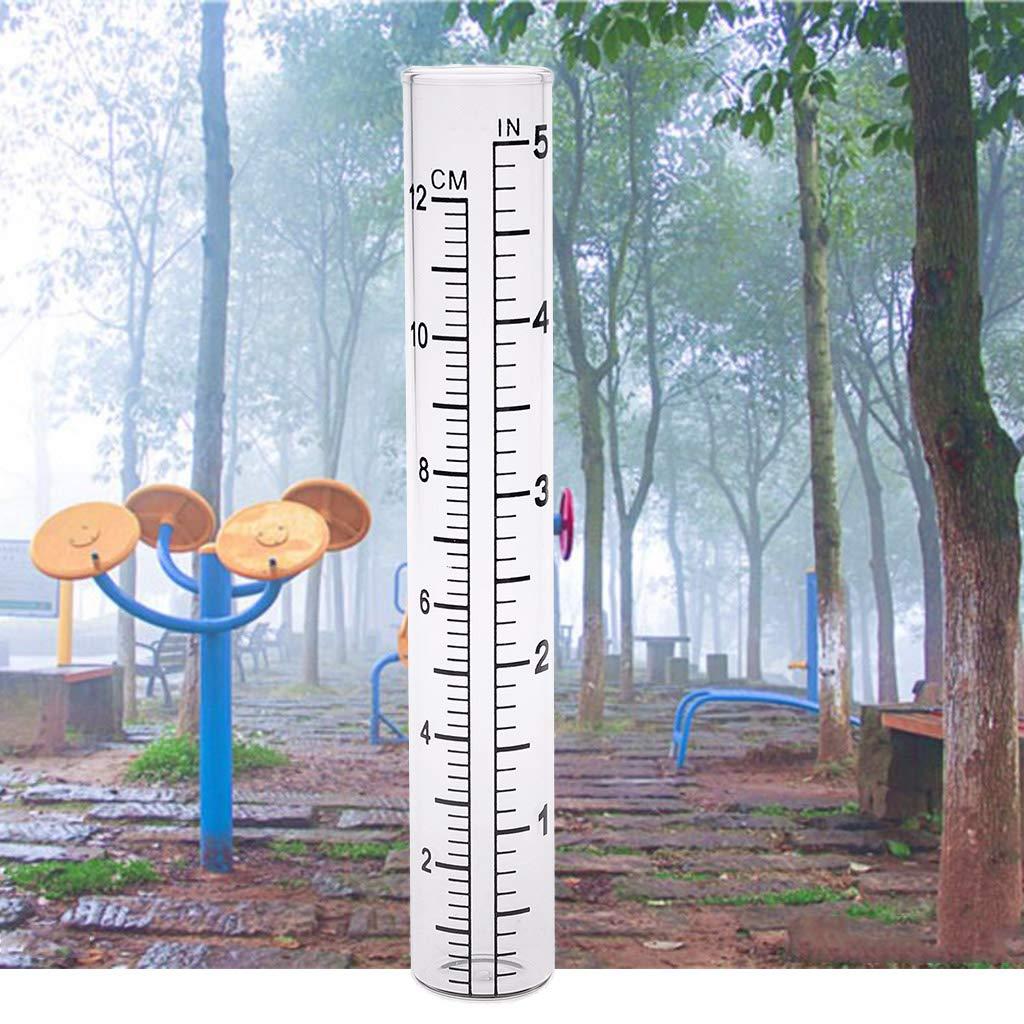 Shoresua 2Pieces Clear Capacity Glass Rain Gauge Replacement Tube Outdoor Garden Yard Home
