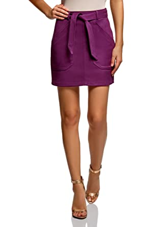 6654faa7a oodji Ultra Women's Belted Faux Suede Skirt at Amazon Women's ...