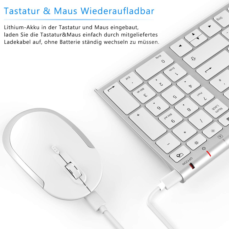 laptop Tastiera e mouse wireless 2,4 GHz desktop nero Jelly Comb notebook tastiera wireless ultra sottile QWERTZ per PC Windows XP//7//8//10