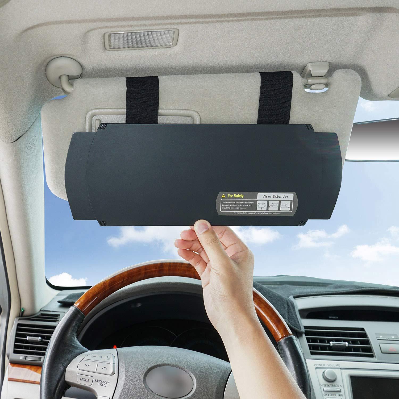 Black TFY Car Visor Extender Anti-Glare Sun Visor Extender Window Sunshade and UV Rays Blocker
