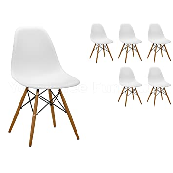 White Eames Inspired ABS Dining Chairs DSW Eiffel Side Dining - White kitchen chairs