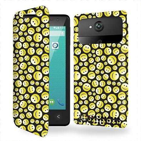 Funda Carcasa Carrefour Poss Smart 4.5 4G Smiley seamless Collection Pattern de almacenamiento innovadoras con tarjeta de la puerta interna: Amazon.es: Electrónica
