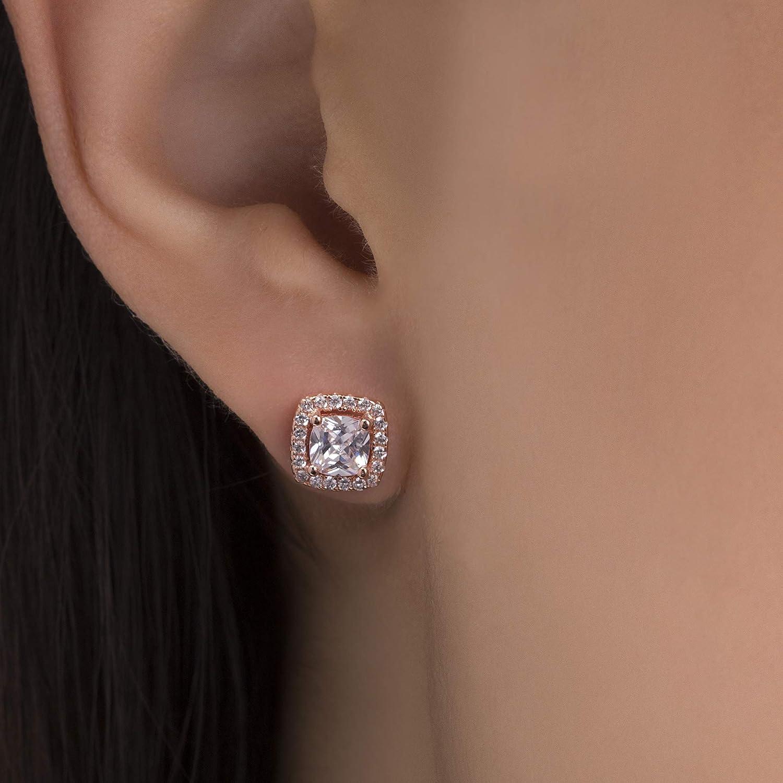 fdda1da6793cc Lesa Michele Womens Cubic Zirconia Cushion Shaped Halo Stud Earring in  Yellow Gold over Sterling Silver