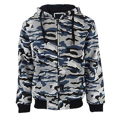 5ea3ebae96e3f Leehanton Mens Zipper Hoodie Camouflage Heavyweight Warm Outdoor Sweatshirt  (Camo Blue, Small)