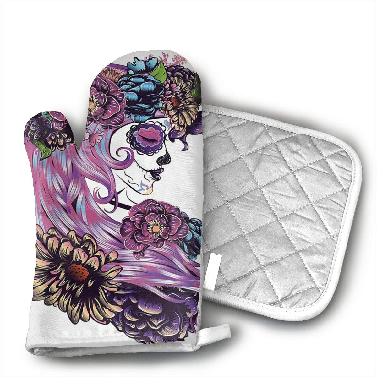 Day of The Dead Illustration with Sugar Skull Oven Mitts, Extra Long Kitchen Oven Gloves, Professional Heat Resistant Baking Gloves,
