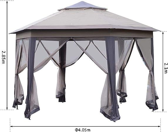 Outsunny - Cenador Hexagonal para jardín, 4 m, para Exteriores ...
