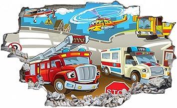 Feuerwehr Feuerwehrwagen Wandtattoo Wandsticker Wandaufkleber D1183