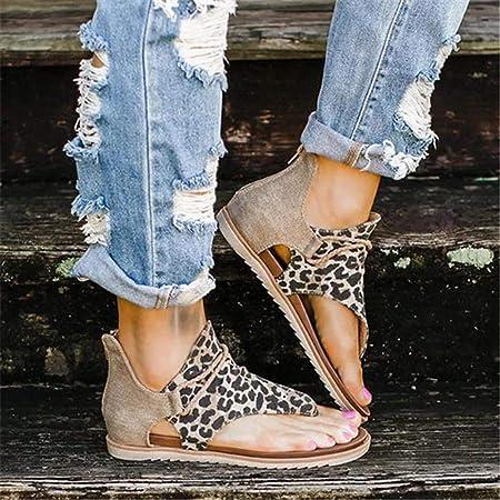 lingzhuo-shop Sandalias cómodas de Gladiador súper Elegante para Mujer Sandalias de Talla Grande Sandalias Planas Sandalias de Leopardo/Cebra/Serpiente/Color sólido con Cremallera Welcoming
