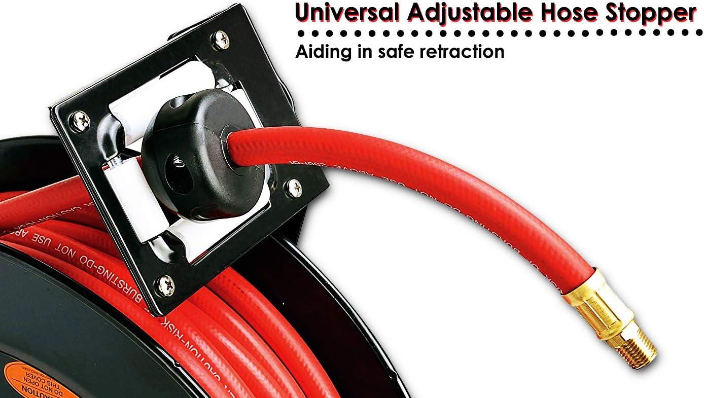 Max ReelWorks Air Hose Reel Retractable 3//8 Inch x 50 Feet Hybrid Polymer Hose 300 PSI Compressor Water Plastic Spring Driven Swivel Bracket