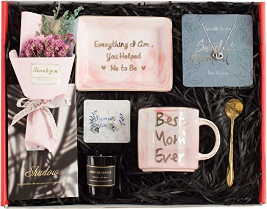 Amazon Com Gifts For Mom Mom Gifts Set Includes Sterling Silver Necklace Earrings Pink Marble Jewelry Trays Pink Marble Mug Scented Candle And Flower Best Mother S Day Birthday Gift Set Home Kitchen