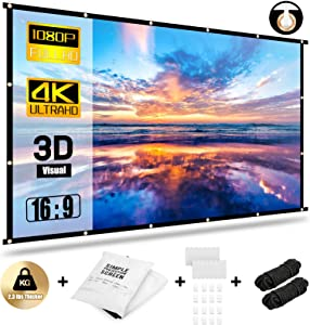 Abosi Projector Screen 150 inch 16:9 HD Foldable Anti-Crease Portable Projection Movies Screen for Home Theater Outdoor Indoor Support Double Sided Projection