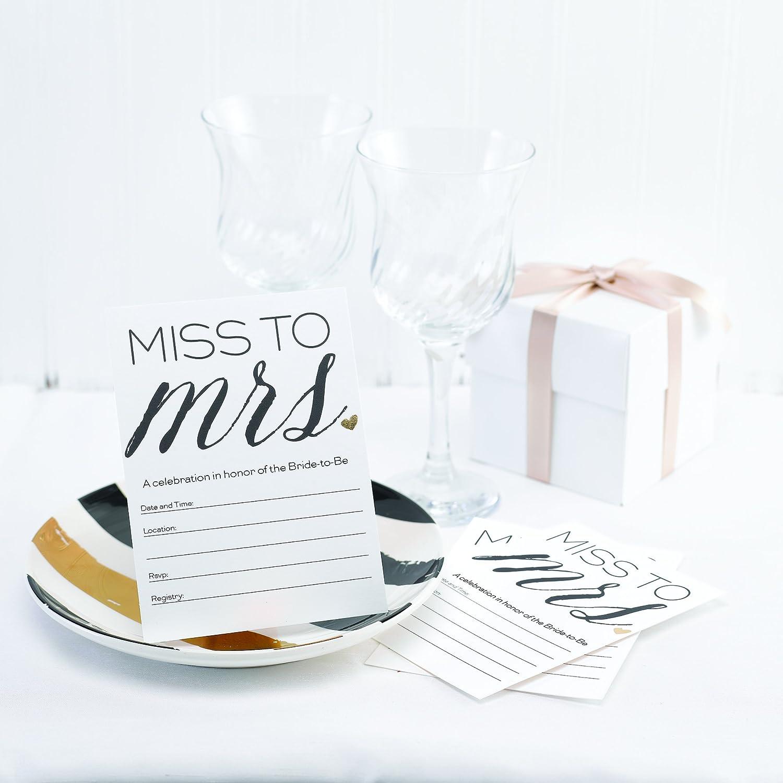 Hortense B Hewitt 55591 Miss To Mrs Invitations 4.5 x 6 White