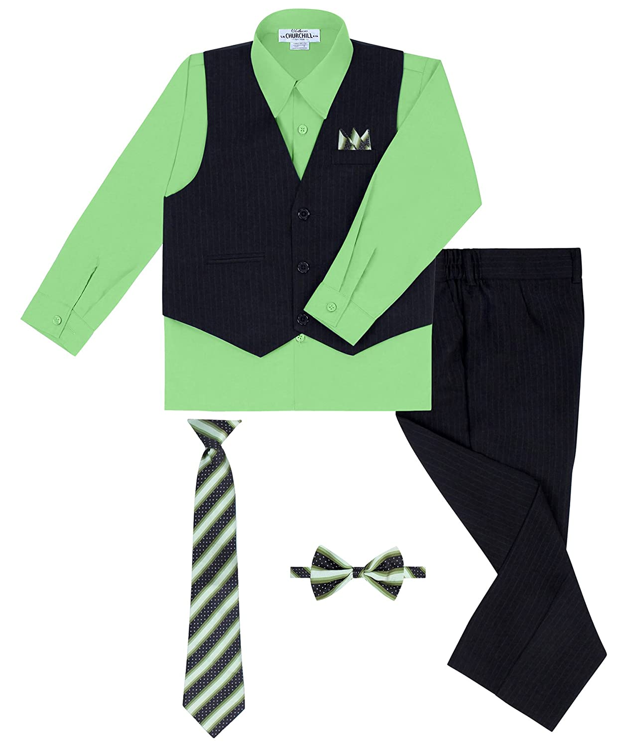 Boy's 5 Piece Vest and Pant Set Includes Shirt Long Tie Bow Tie and Hanky