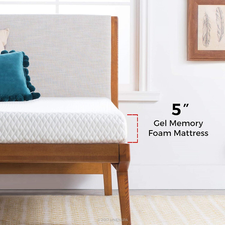 Linenspa 5 Inch Gel Memory Foam Mattress Firm Support Queen Furniture Decor