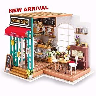 Home Decor Giocattolo Coffee House DIY Set Borsa Attrezzi In Legno Handmade Bambola Giocattolo Casa Per Ragazze E Ragazzi, 200 X 190 X 210 Mm
