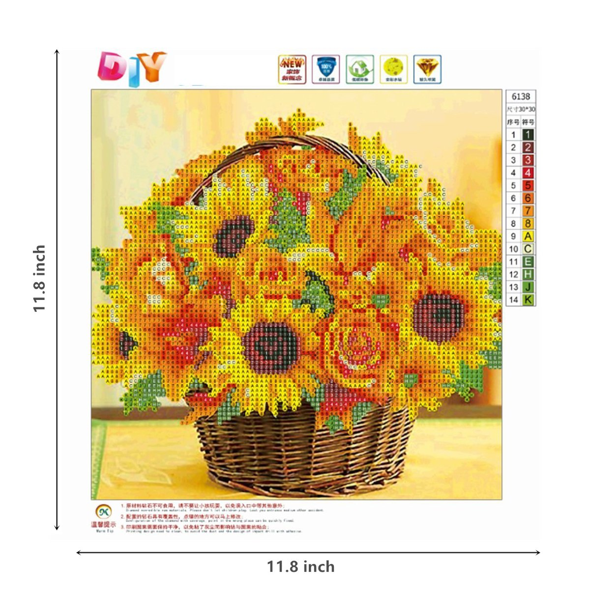 DIY 5D Diamond Painting by Number Kit, Sunflower Crystal Rhinestone ...
