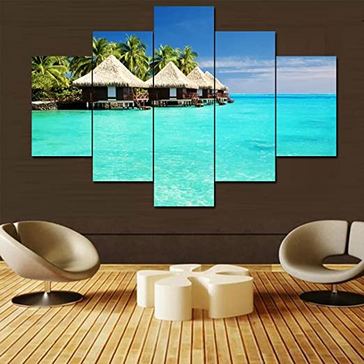 Framed Canvas Prints For Home Decor Coconnut Trees Wall Art Canvas Painting-4pcs