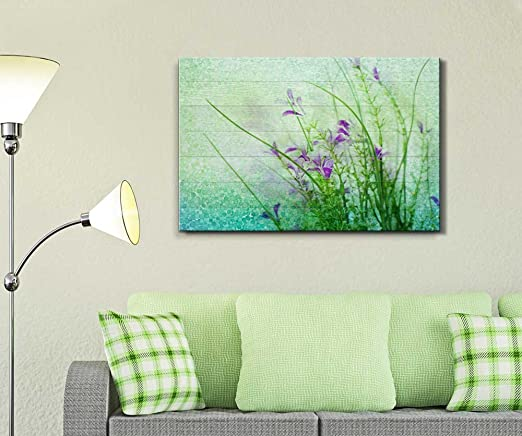 Wall26 - Small Purple Flowers with a Blue and Green Polkadot Texture Over Wood Panels - Canvas Art Home Decor - 24x36 inches
