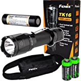 Fenix TK16 1000 Lumens Cree LED tactical Flashlight package with genuine Fenix ARB-L2M 18650 Li-ion rechargeable battery and 2X EdisonBright CR123A Lithium batteries
