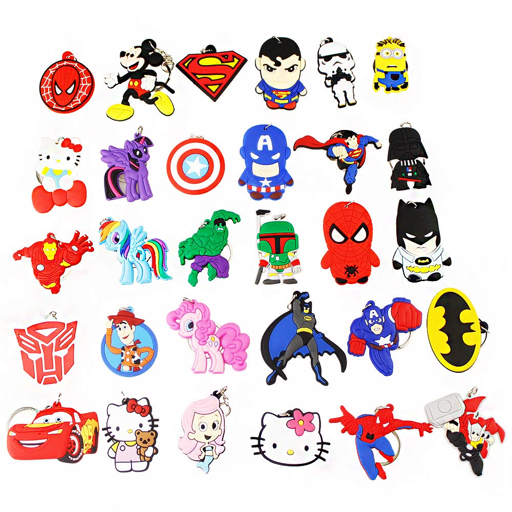 Melleco 30pcs Keychain Key Tags Superhero Goodie Bag Stuffer Christmas Gift Holiday Charms for Kids Birthday Party Favors School Carnival Reward Prizes Decoration Supplies