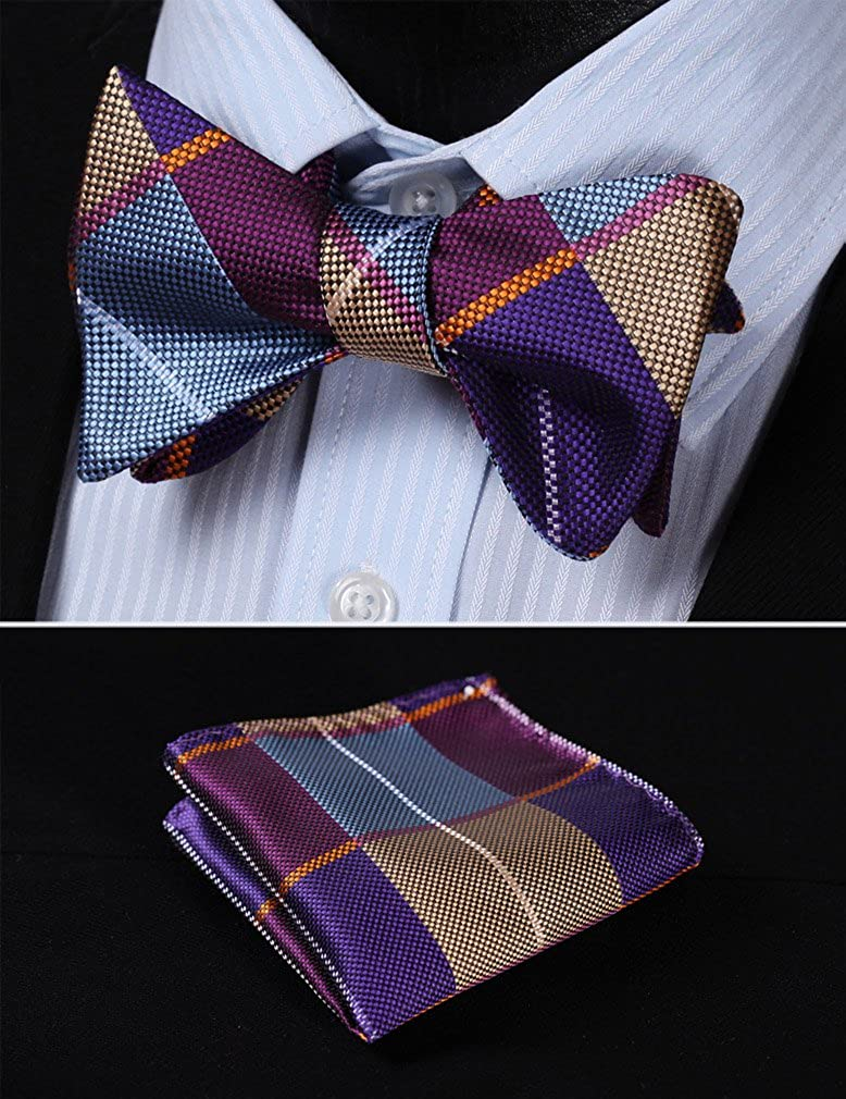 HISDERN Check Dots 6 Clips Suspenders /& Bow Tie and Pocket Square Set Y Shape Adjustable Braces SC703N