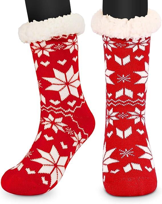 Donna Antiscivolo Calze Slipper Termico Scalda Pile Anti-scivolo Grips Christmas