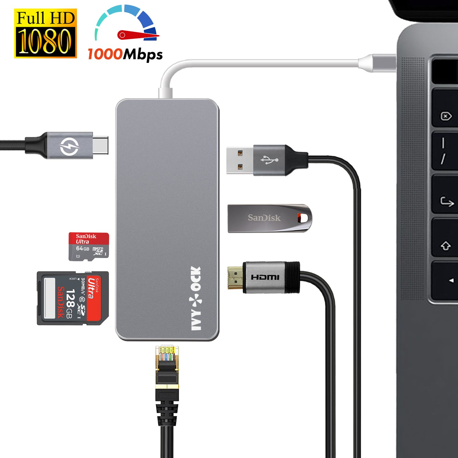 USB C Hub, IVYOCK Type C Hub Dongle with HDMI, Gigabit Ethernet, Type-C Charging Port, USB 3.0/2.0 Ports, SD/Micro SD Card Reader, USB-C Adapter for MacBook Pro/Pixelbook/Dell XPS/Yoga and More by IVYOCK (Image #1)