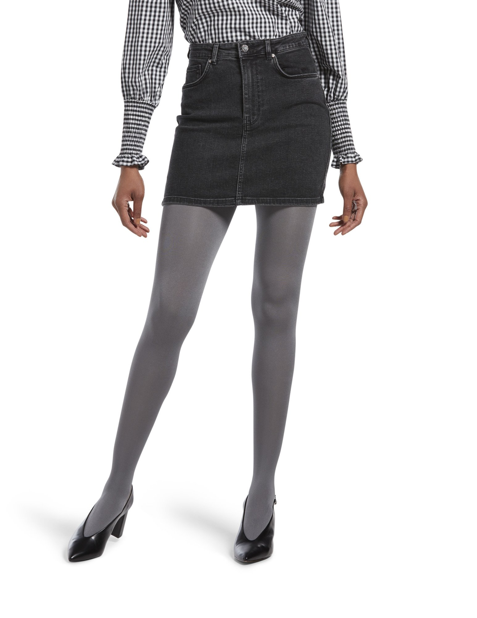 HUE Women's Luster Tights with Control Top, Steel, 1