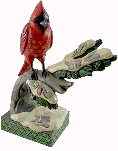 Jim Shore for Enesco Heartwood Creek Winter Cardinal on Branch Figurine, 6.25-Inch