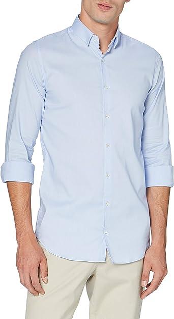 Pierre Cardin Langarm Hemd Camisa Abotonada, Azul Claro, 40 ...