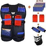 Kids Elite Tactical Vest Kit CEEBON Adjustable Elite Tactical Blasters Vest For EVA Nerf N-strike Elite Series (Vest+40 Pcs Foam Darts + 2Pcs Quick Reload Clip + 2Pcs Hand Wrist Band + 1 Protective Face Tu)