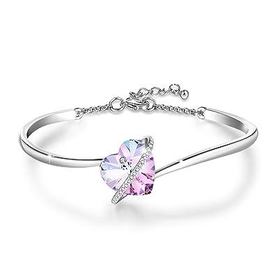 Bracelet swarovski avec cœur enlacé par des petits « diamants » brillants