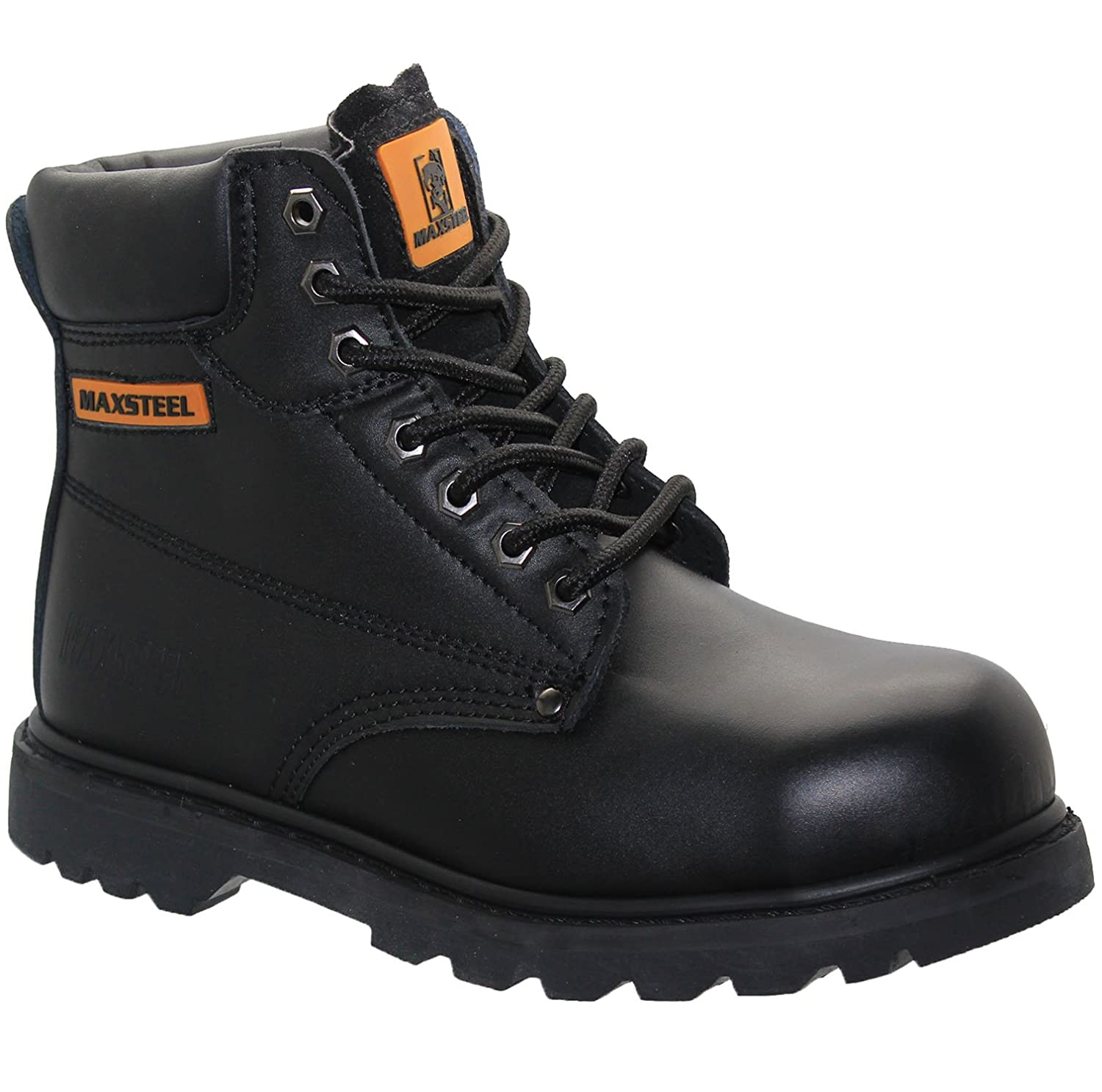 MENS DICKIES BLACK LEATHER SAFETY BOOTS STEEL TOE CAP ANKLE BOOTS SHOES TRAINERS