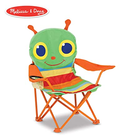 Melissa Doug Sunny Patch Happy Giddy Child s Outdoor Chair Easy to Open, Handy Cup Holder, Cleanable Materials, Carrying Bag, 23.7 H x 6.7 W x 6.7 L