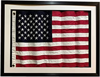 product image for Framed Real Cloth Cotton Embroidered American Flag