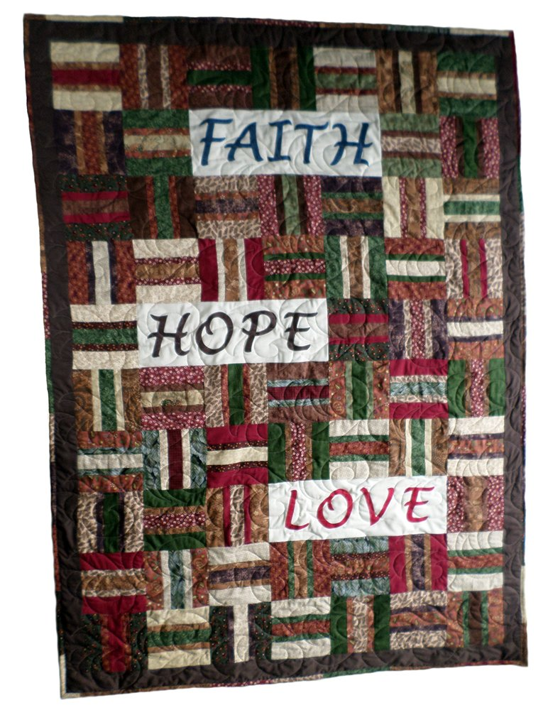Faith Hope Love Throw or Lap Quilt 50'' x 70'' Warm Colors: Burgundy Green Brown by Mountain High Crafts