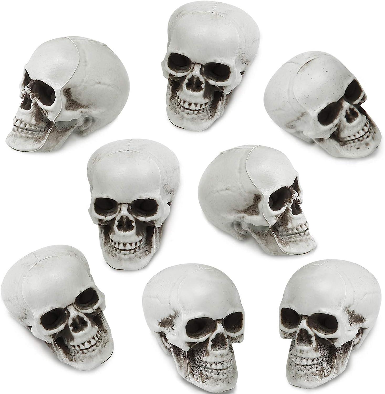 8 Pieces Halloween Skulls Realistic Looking Skulls Human Skeleton Head Skull for Halloween Bar Home Table Decoration (1.8 x 1.8 x 2.4 Inches)