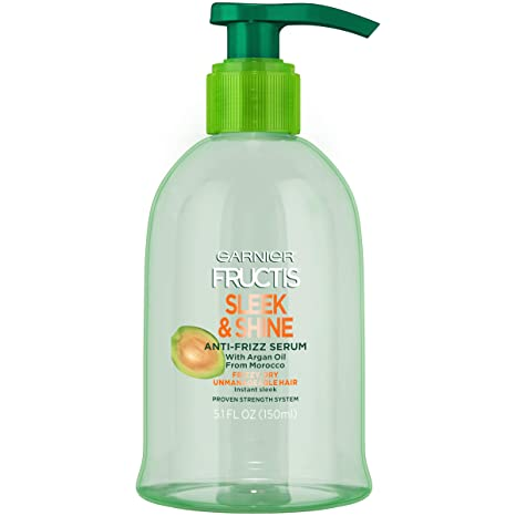 Garnier Fructis Sleek and Shine Anti-Frizz Serum, Frizzy, Dry, Unmanageable Hair, 5.1 fl; oz.